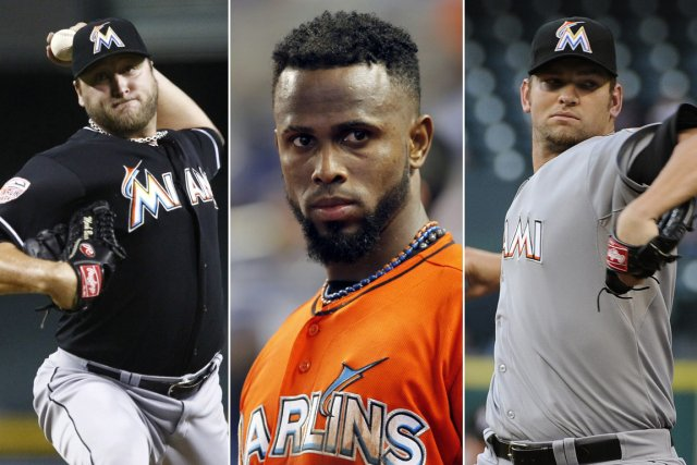 Le lanceur Mark Buehrle, l'arrêt-court Jose Reyes et... (Photo: AP)