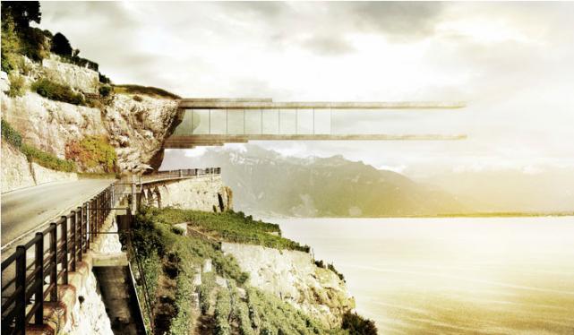 Un musée dédié aux vignes en terrasses en haut d'une falaise, vraiment ? C'est... (Image tirée du site Mauroturin.ch)