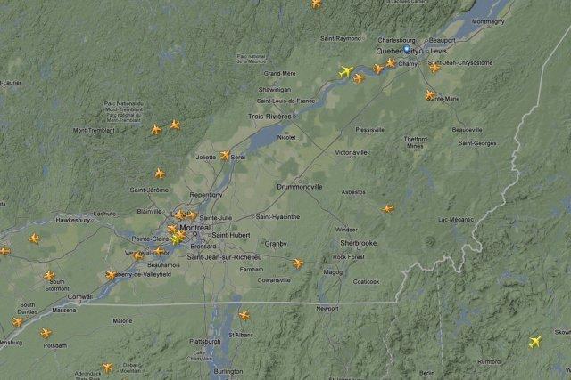 Où vont les avions qui passent au-dessus de... (Image tirée du site flightradar)