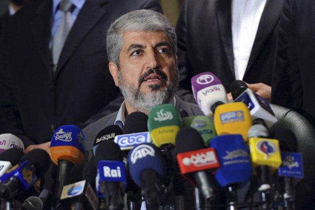 Le chef du Hamas Khaled Mechaal en conférence... (Photo: Reuters)