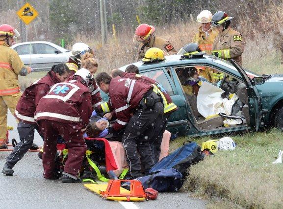 Six personnes ont pris la route du centre hospitalier après avoir été blessées... (Imacom, Maxime Picard)