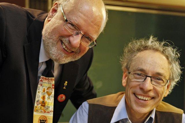 L'éditeur Félix Maltais et l'illustrateur Jacques Goldstyn, du... (Photo: fournie par Les Débrouillards)