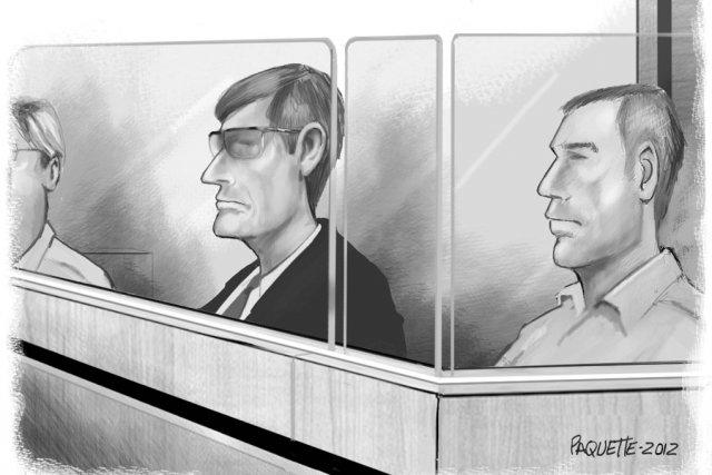 Du box des accusés, Christian Bertrand (à gauche)... (illustration Serge Paquette)