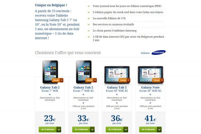 Le groupe de presse belge Rossel a décidé d'offrir une tablette et une ...