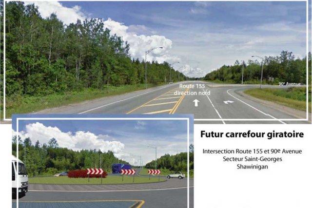 Le futur carrefour giratoire aura cette allure sur... (Source: Transports Québec)