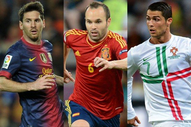 Lionel Messi, Andres Iniesta et Cristiano Ronaldo.... (Photos: AFP)