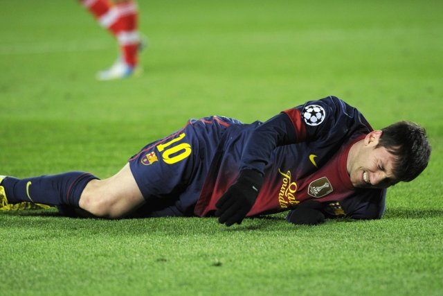 Lionel Messi, du FC Barcelone, a été blessé... (Photo: AFP)