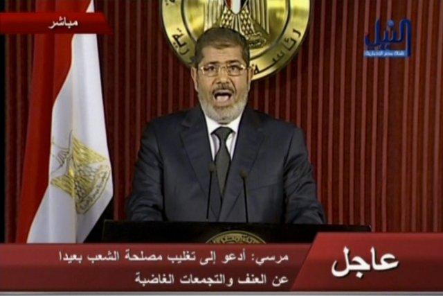 Le président égyptien, Mohamed Morsi, s'est adressé à... (PHOTO AP)