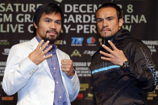 Manny Pacquiao et Juan Manuel Marquez s'affronteront pour... (Photo: AP)