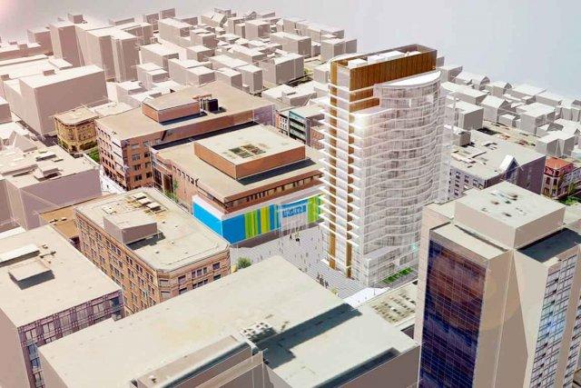 Le projet de tour résidentielle de 16 étages à la place  Jacques-Cartier, dans... (Image fournie par la Ville de Québec)