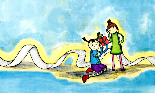Déballer un livre, c'est découvrir un univers, s'embarquer dans une nouvelle... (Illustration d'Amélie Montplaisir tirée de Jeanne et le père Noël)
