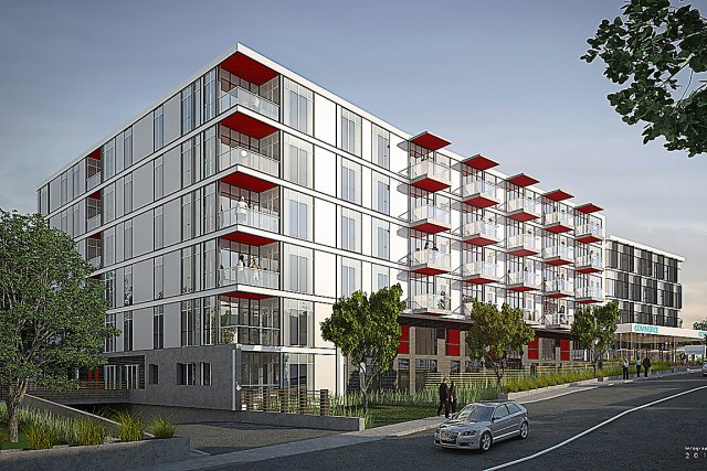L'immeuble de condos situé au coin de la... (Image fournie par Bilodeau Immobilier)