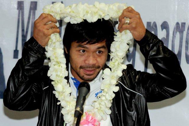 Manny Pacquiao en conférence de presse à son... (Photo: AFP)