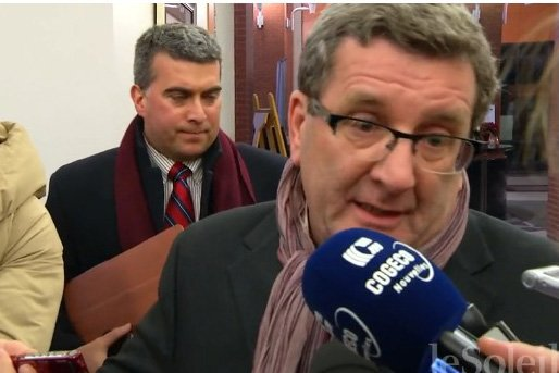Le maire Labeaume, et son attaché de presse,... (Le Soleil, Steve Jolicoeur)