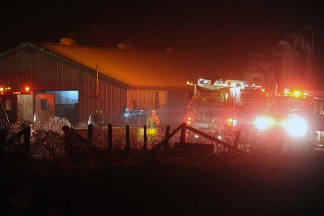 Un incendie a endommagé une porcherie du rang Saint-Joseph à Saint-Barnabé hier... (Photo: Sylvain Mayer)