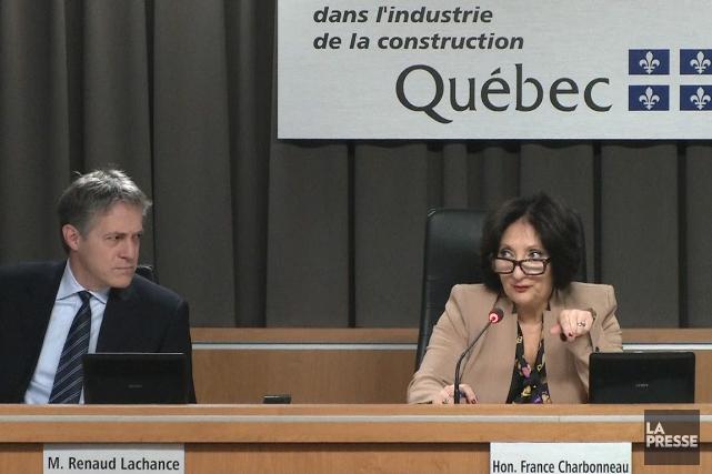 Renaud Lachance et France Charbonneau siègent en l'absence... (IMAGE TIRÉE D'UNE VIDÉO, LA PRESSE)