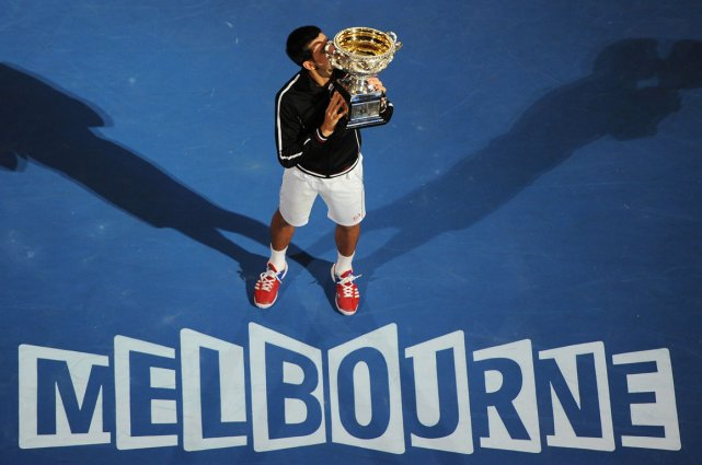 Le champion en titre des Internationaux d'Australie Novak Djokovic.... (Photo archives AFP)
