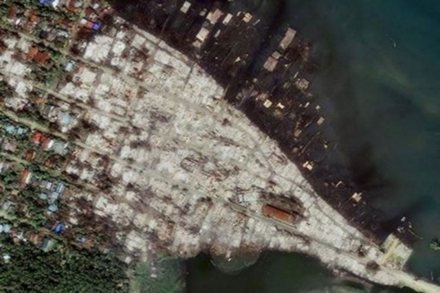 Une photo satellite des dégâts à Kyauk Pyu,... (Photo fournie par Human Right Watch)