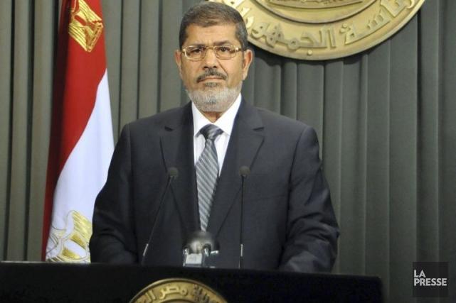 Le président égyptien Mohamed Morsi s'est adressé à... (Photo Agence France-Presse)