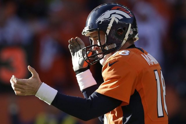 Peyton Manning, le quart des Broncos.... (PHOTO Joe Mahoney, AP)