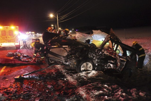 L'accident est survenu sur la route 169, à... (PHOTO Isabelle Tremblay, Le Quotidien)