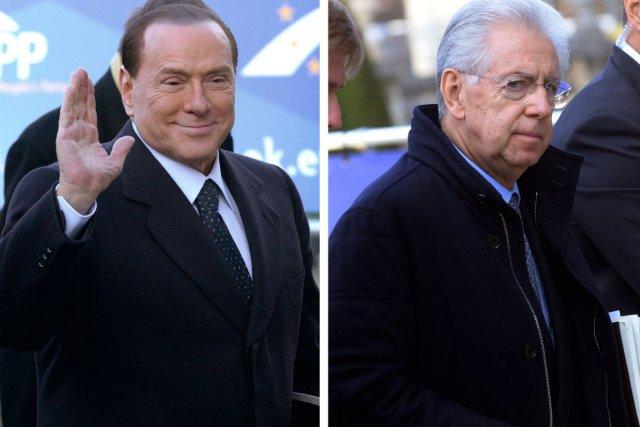 Silvio Berlusconi et Mario Monti.... (Photos Eric Vidal, Reuters)