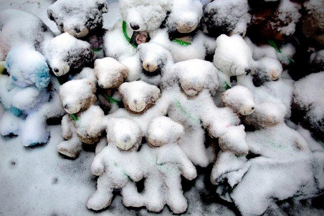 La neige couvre des peluches qui portent le... (Photo: AP)