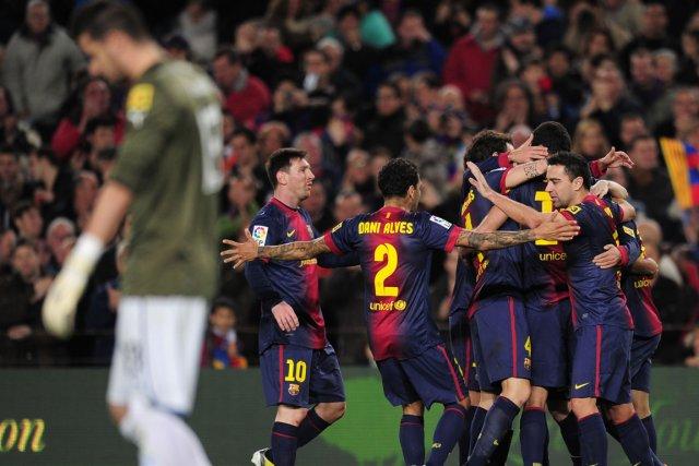 Accueillant au Camp-Nou un Espanyol bien démuni, les... (Photo : Lluis Gene, AFP)