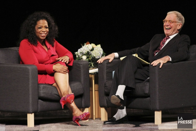 Oprah Winfrey et David Letterman.... (PHOTO CHRIS BERGIN, REUTERS)