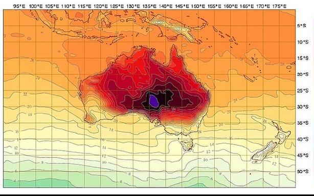 L'année 2013 a été la plus chaude jamais observée en Australie, avec des vagues... (Photo fournie par l'Australian Bureau of Meterology)