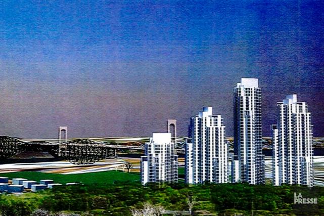Le projet comportant quatre tours serait développé sur... (Image tirée du mémoire déposé à la Ville de Québec)