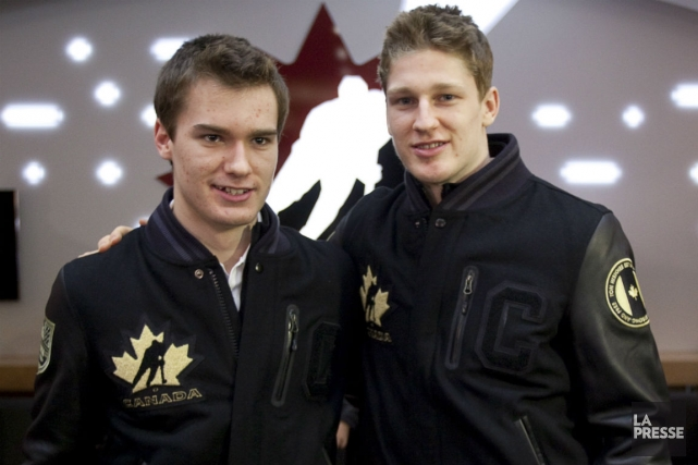 Jonathan Drouin et Nathan MacKinnon... (Photo Jeff McIntosh, La Presse Canadienne)