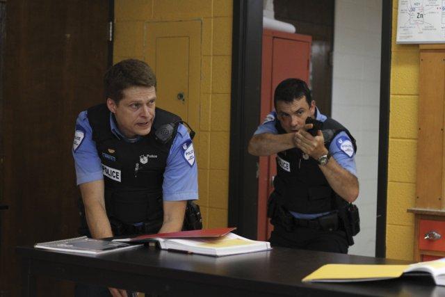 Le plan-séquence du début de l'intervention policière dans l'école dure  13... (Photo: fournie par Radio-Canada)