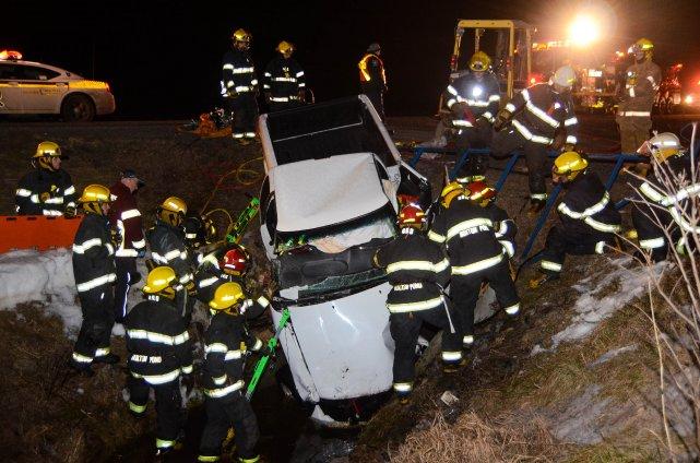 Une conductrice a été  blessée lorsqu'elle a... (Photo Bruno Beauregard, collaboration spéciale)