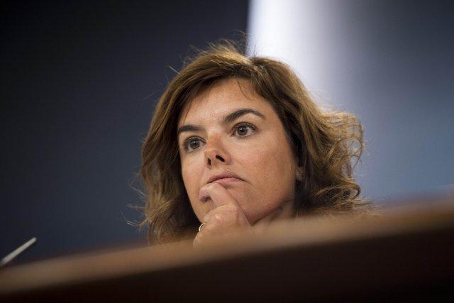 Soraya Saenz de Santamaria, vice-première ministre espagnole, a...