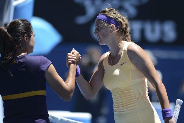 Victoria Azarenka a défait Jamie Hampton en trois... (PHOTO GREG WOOD, AFP)