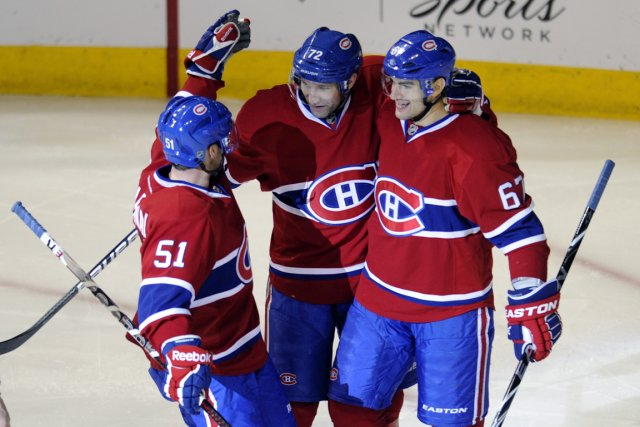 David Desharnais, Erik Cole et Max Pacioretty.... (Photo : Bernard Brault, La Presse)