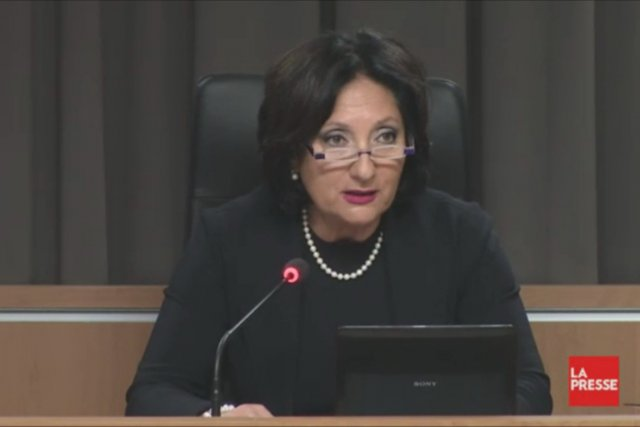 La présidente de la commission, France Charbonneau.... (Photo: tirée de la vidéo, La Presse)