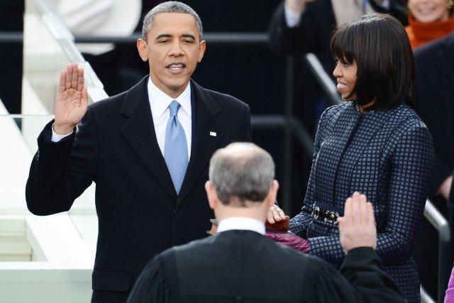 Le président Barack Obama a prêté serment pour... (PHOTO EMMANUEL DUNAND, AFP)