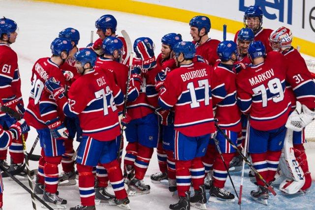 Le Canadien a bien fait circuler le disque, mardi soir. Même après le match. (Photo: Édouard Plante-Fréchette, La Presse)