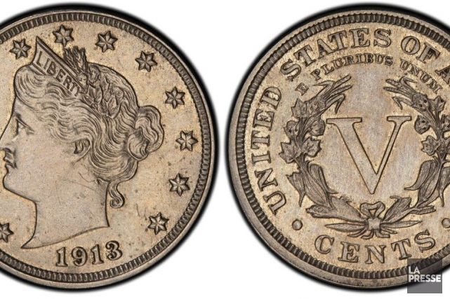 Cette pièce de 5 cents dite Liberty Head... (Photo Associated Press)