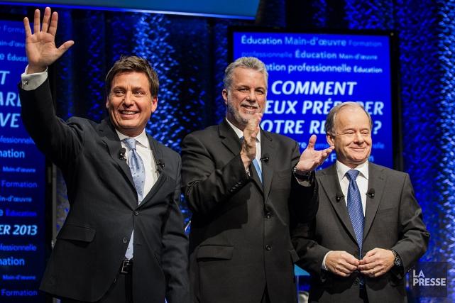 Les trois candidats à la direction du PLQ,... (Photo: Édouard Plante-Fréchette, archives La Presse)