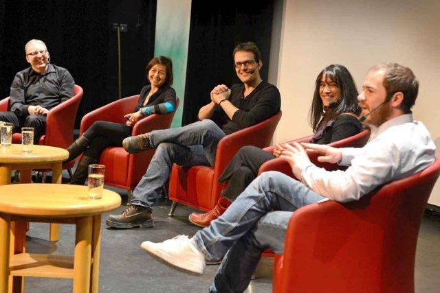 De gauche à droite, l'animateur de la conférence... (Photo Le Soleil, Patrice Laroche)