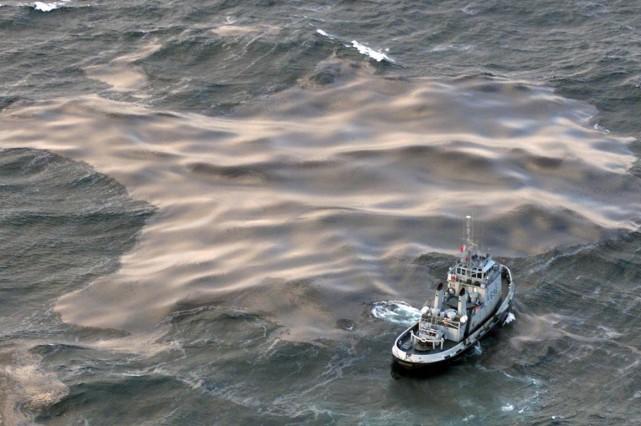 La nappe de pétrole apparue au large de la Riviera italienne s'est en grande... (Photo archives AFP)