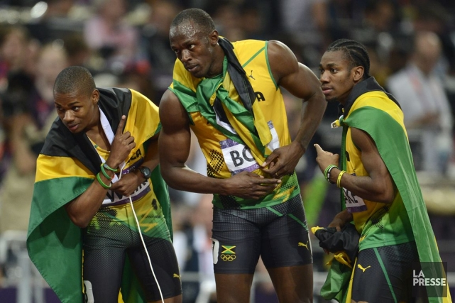 Yohan Blake, Usain Bolt et Warren Weir au... (Photo Bernard Brault, archives La Presse)