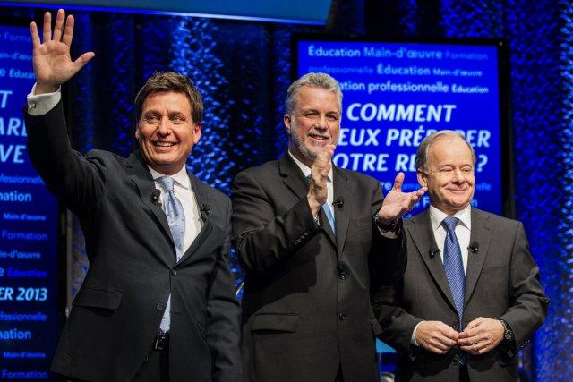 Pierre Moreau,PhilippeCouillard et Raymond Bachand, les trois aspirants... (PHOTO EDOUARD PLANTE-FRÉCHETTE, LA PRESSE)