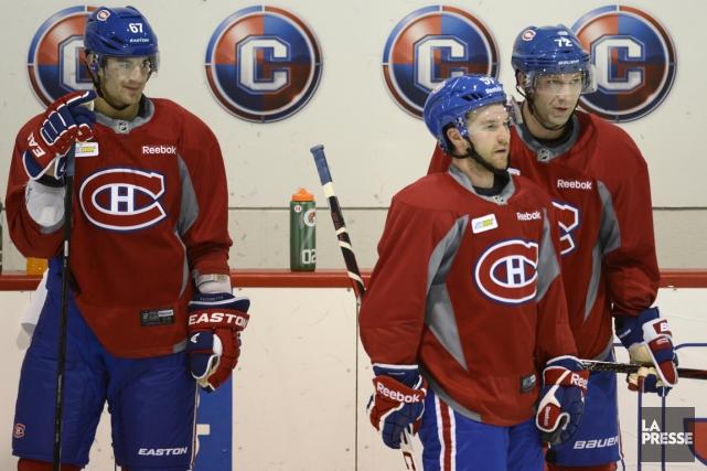 Max Pacioretty, David Desharnais et Erik Cole n'ont... (Photo Bernard Brault, La Presse)