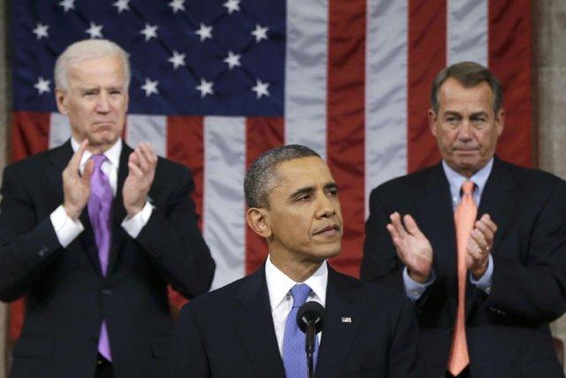 Barack Obama lors de son discours sur l'état... (Photo: Reuters)