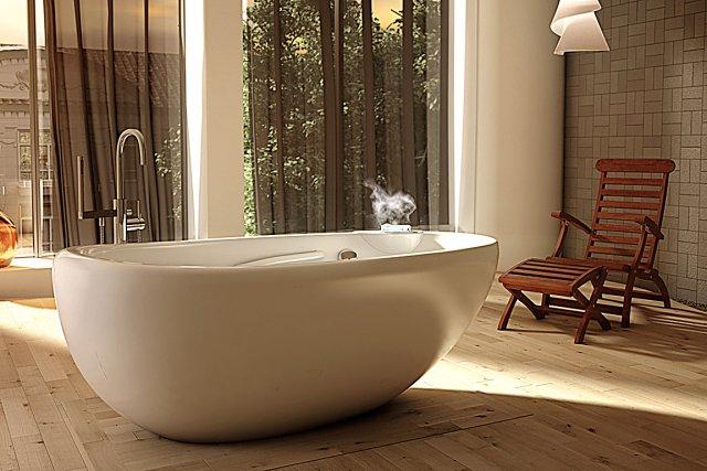 Cette baignoire de la collection ThermaSens est dotée... (Photo fournie par Bainultra)
