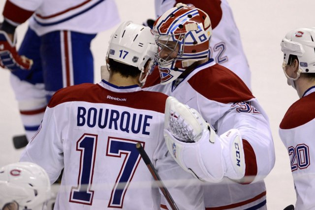 Carey Price et Rene Bourque après le match.... (Photo Rhona Wise, Reuters)